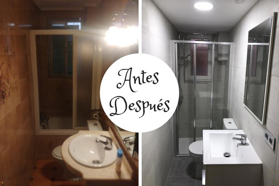 Reforma baño alargado, antes y después de la obra