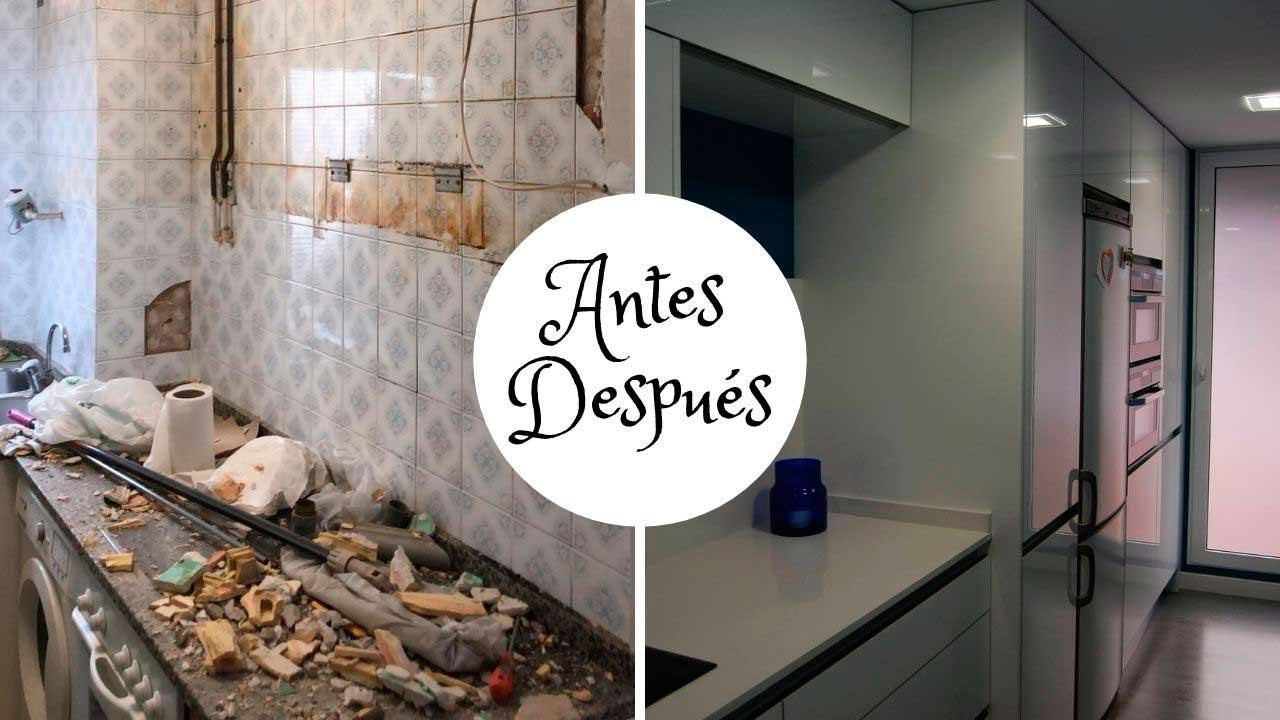 Antes y después de una reforma de una cocina moderna